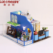 Miniatura casa de muñecas Kits de construcción modelo Blue Coast casa de boneca Muebles de madera Dollhouse Regalos de Navidad Juguetes para niños