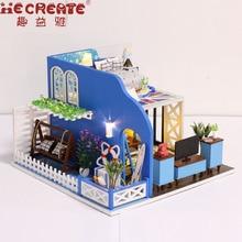 Miniatur Rumah Boneka Model Kit Bangunan Biru Pantai casa de boneca Kayu Dollhouse Furniture Hadiah Natal Mainan untuk Anak-anak