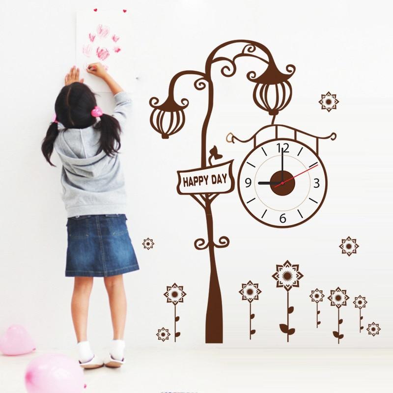 Amazing Brown Street Lights Flower Tree Quartz Clock Watches Wall Sticker Kids Room  Living Room Bedroom Home Decor Vinyl 3D Wallpaper