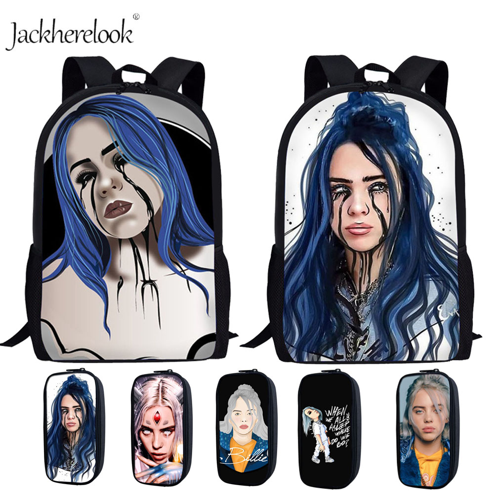 Jackherelook Billie Eilish School Backpacks For Kids Women Schoolbag Teenager Girls Pencil Box Pen Case School Supplies Book Bag