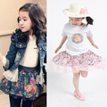 Baby girls skirts New 2016 version of the pastoral style floral skirt bow lace tutu skirts children's clothing Princess skirt