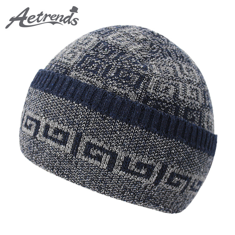 [AETRENDS] 2017 New Winter Beanie Hats for Women Men Warm with Velvet Inside Knitted Caps Beanies Z-5981 2016 new beautiful colorful ball warm winter beanies women caps casual sweet knitted hats for women outdoor travel free shipping