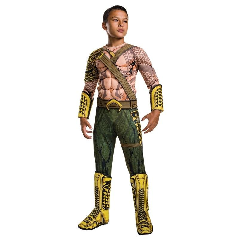 2017 NOUVELLE ARRIVÉE Enfant Deluxe Muscle L'aube de Justice Aquaman Halloween Costume Garçons DC Justice League Super-Héros Cosplay Robe-up
