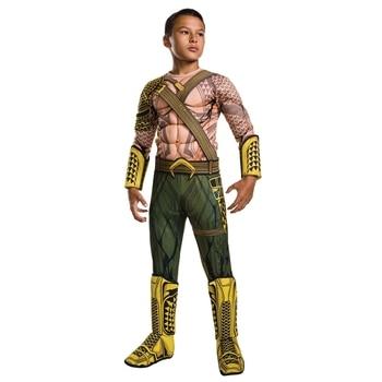 Deluxe Anak Otot Dawn Of Justice Aquaman Kostum Halloween Anak Laki-laki DC Justice League Superhero Cosplay Dress-Up