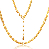 24K Pure Gold Necklace Real AU 999 Solid Gold Chain Trendy Lucky Chinese Characters Upscale Party Fine Jewelry Hot Sell New 2018