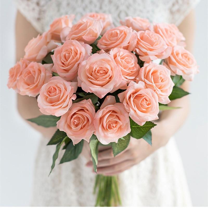 רוז פרחים מלאכותיים מגע נדל רוז פרחים - חגים ומסיבות