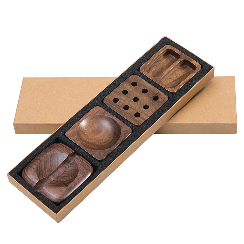 Walnut Wood Desktop Stationery Storage Box Decoration Wool Office Desk Business Card Box Pen Cell Phone Holder Shelf  3