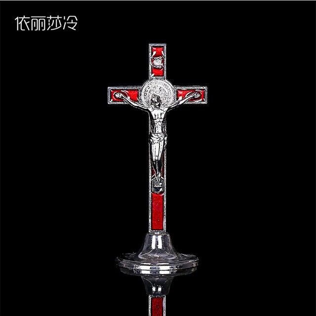 كبير يسوع المسيحية الصليب سيارة زخرفة تمثال الكاثوليكية الصليب سانتا كروز تمثال للتزين الكلاسيكية يسوع الصليب تمثال. 22x5.5CM