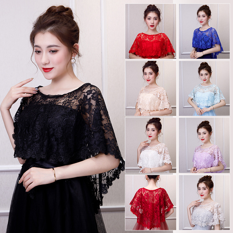 10 Colors Summer Lace Bridal Wraps Shawl Elegant Women Evening Cape Bolero Dentelle Mariage Bride Wedding Party Jackets Wrap