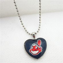 10pcs/lot MLB Necklace Cleveland Indians Necklaces Pendant Charms with 45cm Beads Chains Baseball Sports Necklace Jewelry