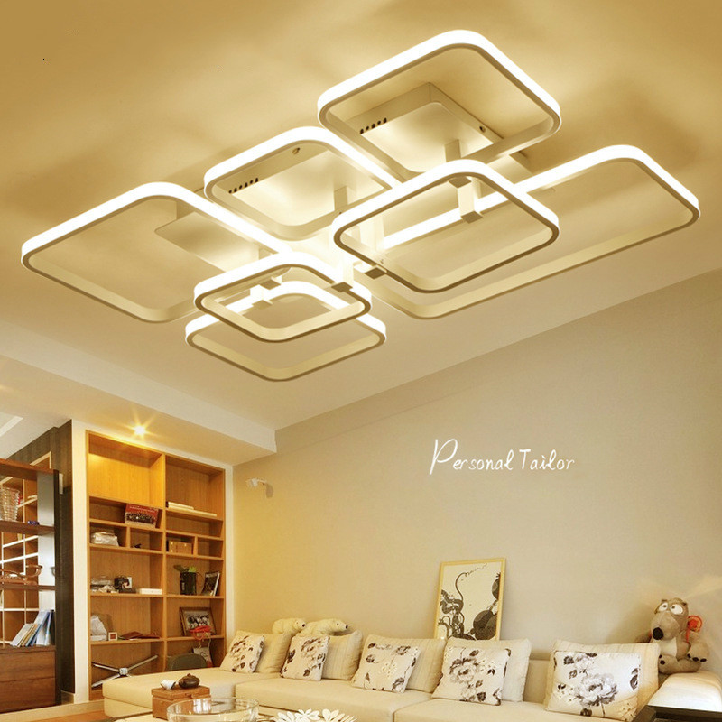 Modern Led Ceiling Chandelier Lights for Living Room Bedroom Square Art Indoor Iron Ceiling Chandelier Lamp Fixtures