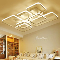 Modern Led Ceiling Chandelier Lights for Living Room Bedroom Square Art Indoor Iron Ceiling Chandelier Lamp Fixtures