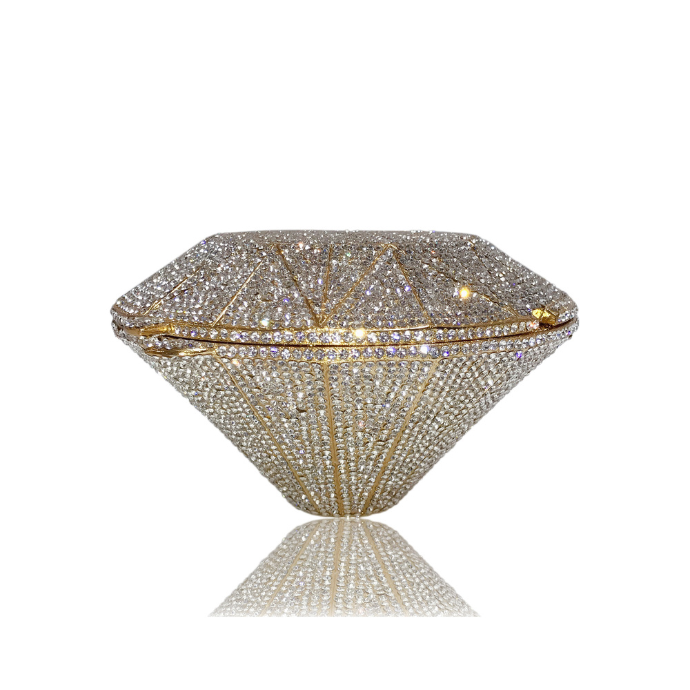 Women's Bags The Diamond Shape Alloy Evening Bag Crystals Geometric Pattern Gold / Silver Wedding Party Clutch Bag Purse Handbag