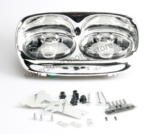 Chrome 5-3/4″ LED Headlight Projector Daymaker Lamp For Harley Road Glide 98-13