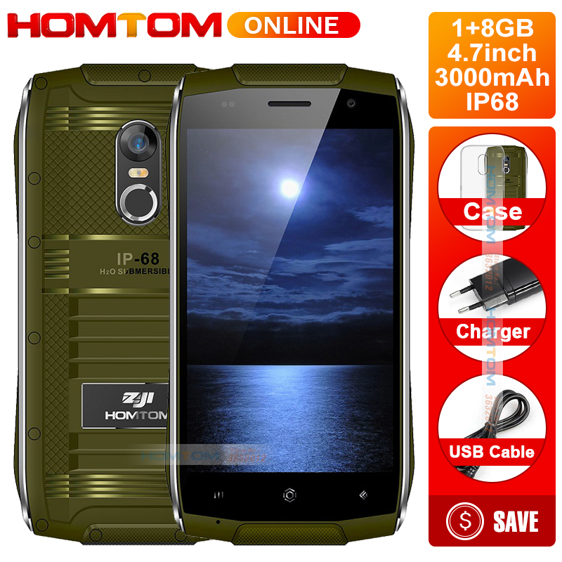 HOMTOM ZOJI Z6 IP68 Waterproof Smartphone Android 6.0 MTK6580 Quad Core HD Phone 1GB RAM+8GB ROM 3G Dustproof Mobile Phone