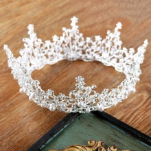 European Large Round Rhinestone Tiara Pearls Silver Crown Full Circle Veil Crowns Wedding Pageant Head Jewelry