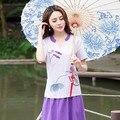 Tradicional chinesa clothing 2017 mulheres verão m-2xl étnico roxo azul v neck manga curta de lótus sapo t shirt tee top