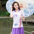 Traditional Chinese Clothing 2017 Women Summer m-2xl Ethnic Purple Blue V Neck Short Sleeve Frog Lotus T Shirt Tee Top