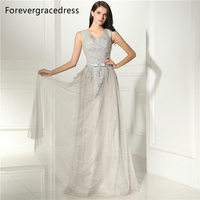 Forevergracedress Elegant Silver Long Evening Dress New Style Sleeveless Tulle Appliques Formal Party Gown Plus Size