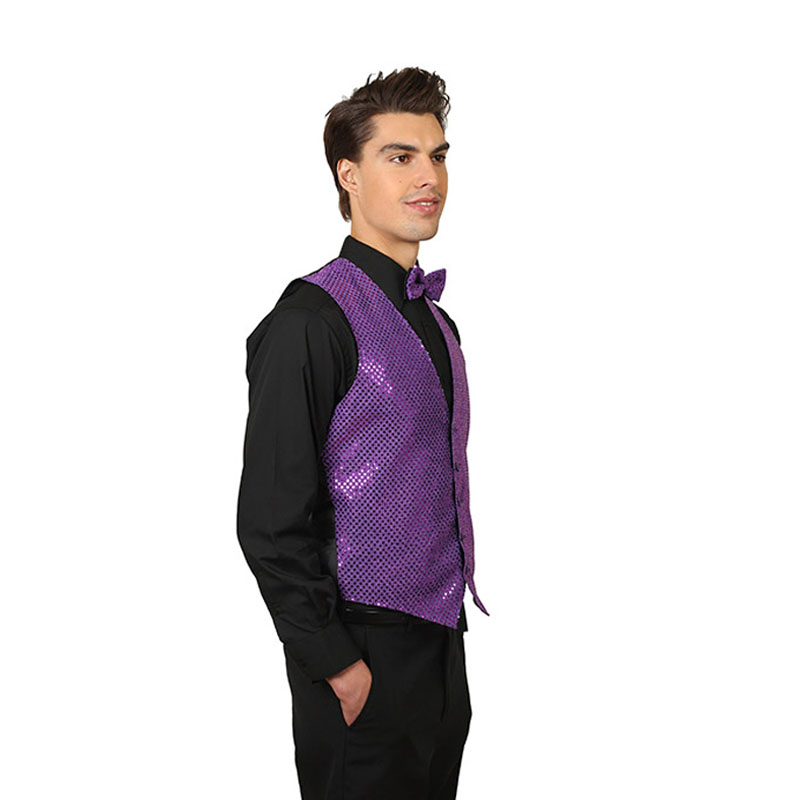 Nuevo diseño brillante azul púrpura Lentejuelas mens boda baile ...