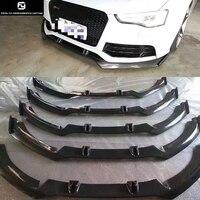A6 RS6 углеродного волокна переднего бампера для губ спереди диффузор для Audi A6 RS6 Комплект кузова 13 16