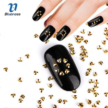Gold Love Heart Design Glitter Metal 3D Nail Art Studs Supplies Heart-shaped Copper Diy Charms Decorations For Nails PJ598