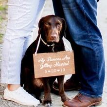 На заказ собака Дата свадебное оформление виниловая декоративная наклейка, мои люди женятся наклейки Pet Свадебные аксессуары украшения