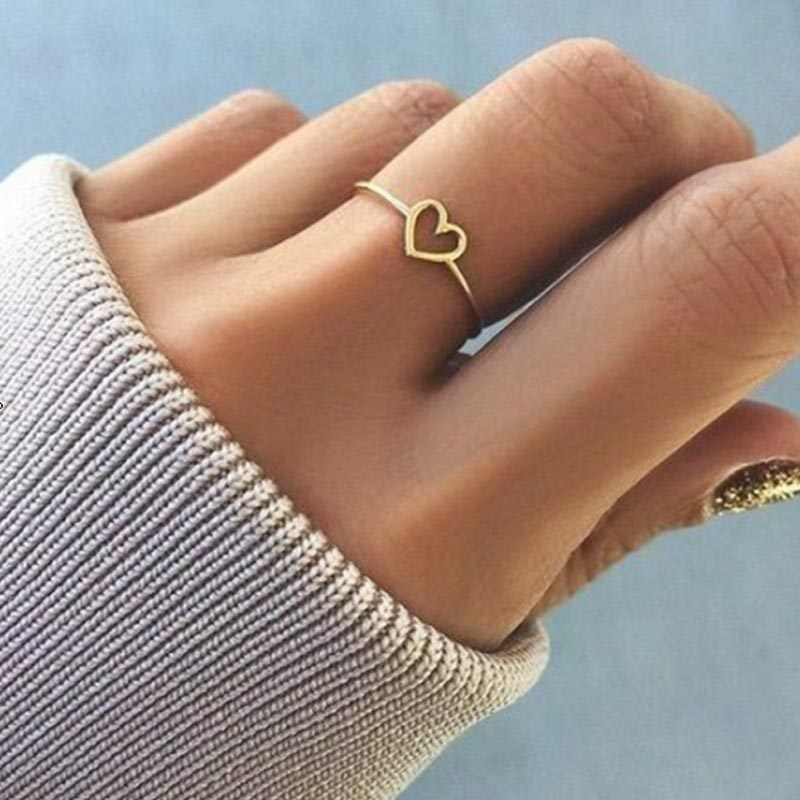 Heart Shaped Wedding Party Ring Minimalist Copper Rose Gold Silver Color Ring Women Best Friend Wedding Love Finger Ring Gift