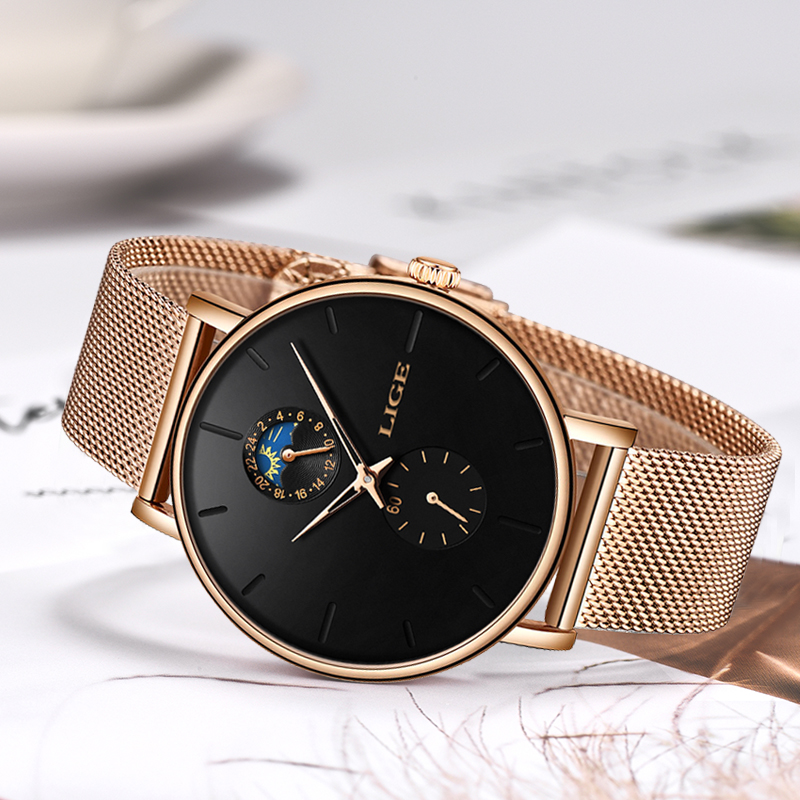 Image 3 - LIGE Womens Watches Top Brand Luxury Waterproof Watch Fashion Ladies Stainless Steel Ultra Thin Casual Wrist Watch Quartz Clock-in Women's Watches from Watches