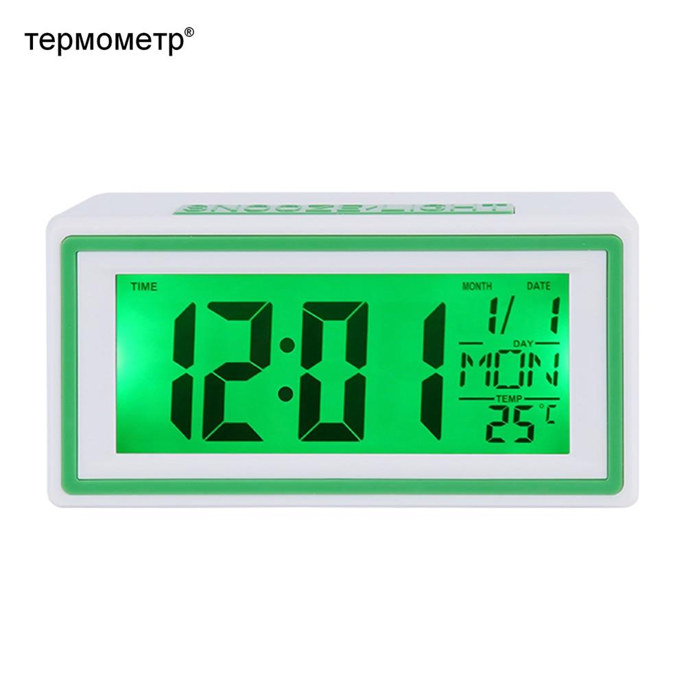 Small Digital Travel Alarm Clock Voice Sound Control Backlight Desk Table Mini Car Clock Timer Calendar Temperature Thermometer