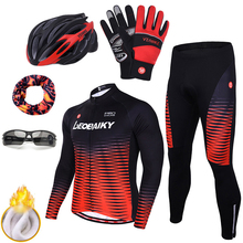 New Arrival Winter Fleece Long Sleeve Cycling Clothing Men Pro Team Bike Jersey Sets Thermal Padded Bicycle Clothes Sport Wear santic men cycling jersey sets long sleeve warm thermal sport cycling base layer sets skinsuit bike suits kits bicycle clothing