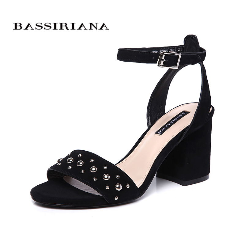 BASSIRIANA new ladies genuine leather suede shoes wowen summer sandals square high heels ankle strap rivets black green 35 40-in High Heels from Shoes    1