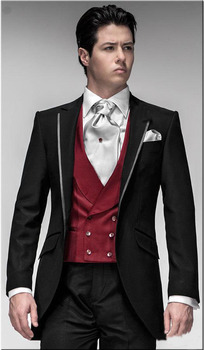 Custom Made To Measure Men Suit, Bespoke Black Tuxedo Jacket And Pants With V-neck Red Vest,Classic Black Wedding Suits For Men