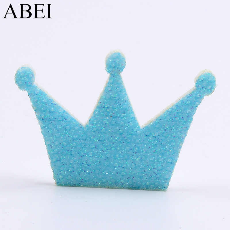 50pcs/lot Glitter Crown Patch Pink/Blue Felt Pads DIY Wedding Baby Shower  Party Scrapbook Card Decoration Craft Fabric Patches