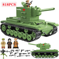 Military Soviet Russia KV 2 Tank Building Blocks Soldier Police figures Weapon Bricks Toys for Boys Compatible with Legoed WW2