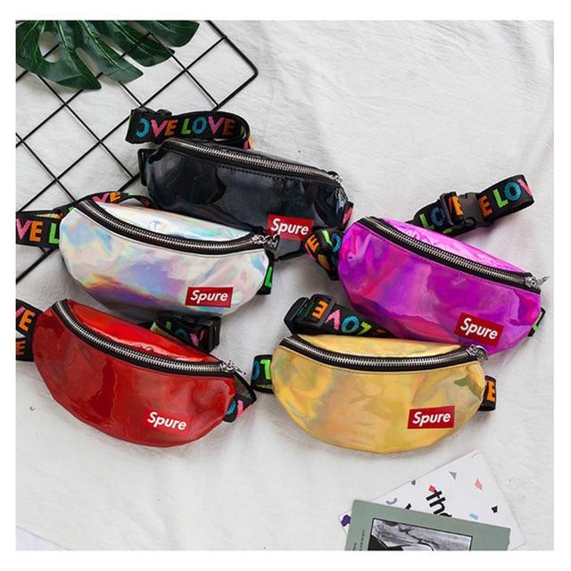 LXFZQ new laser new women's waist bag mini fanny pack PU hologram bag Diagonal buik tasje pochetes cintura mulheres chest bag