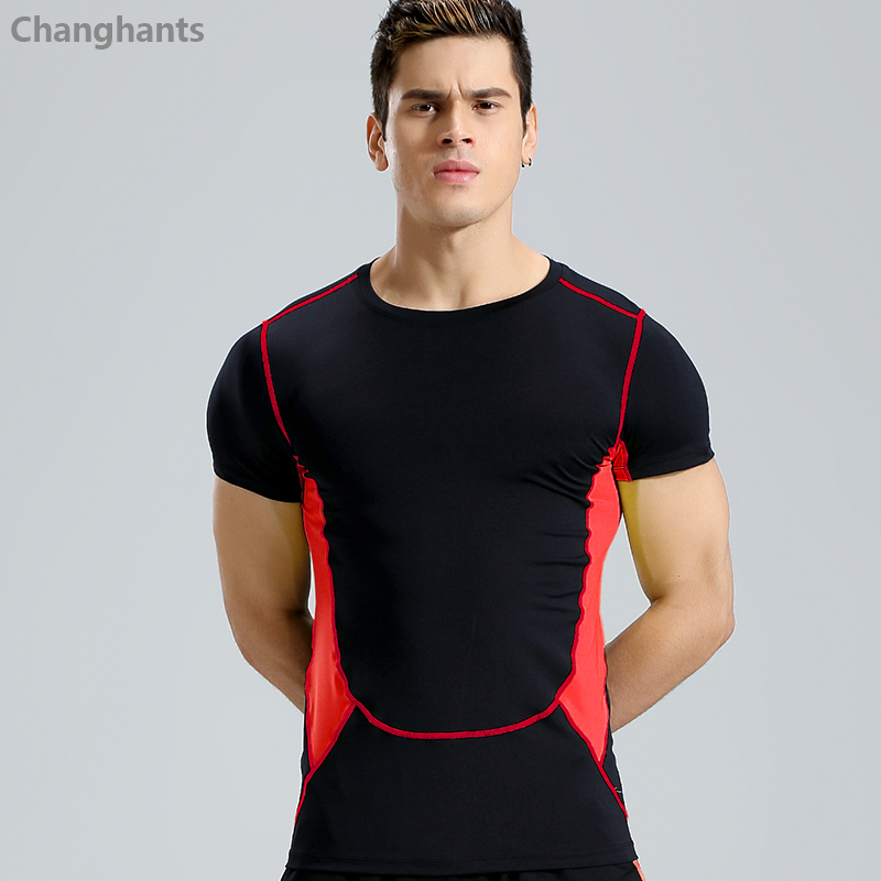 Men Fitness Short Sleeve T-shirt 2 Colors Stitching Running Basketball Tight Jerseys Quick Dry T Shirts Sportswear Elastic Gym