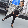4 5 6 7 8 9 10 11 12 13 Years Children Clothing Set Autumn Kids Girls Clothes Set Striped Long Sleeve Shirt + Jumpsuit For Teens