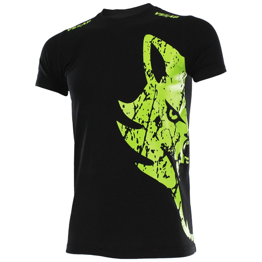 VSZAP Green Wolf MMA Short-sleeved T-shirt MMA Fighting Muay Thai Fight Fitness Shirts Exercise Printing Gym Jersey
