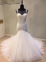 Newest Design Mermaid Wedding Dresses 2018 Illusion Neckline Long Train Bridal Gowns Sheer Back Sleeveless