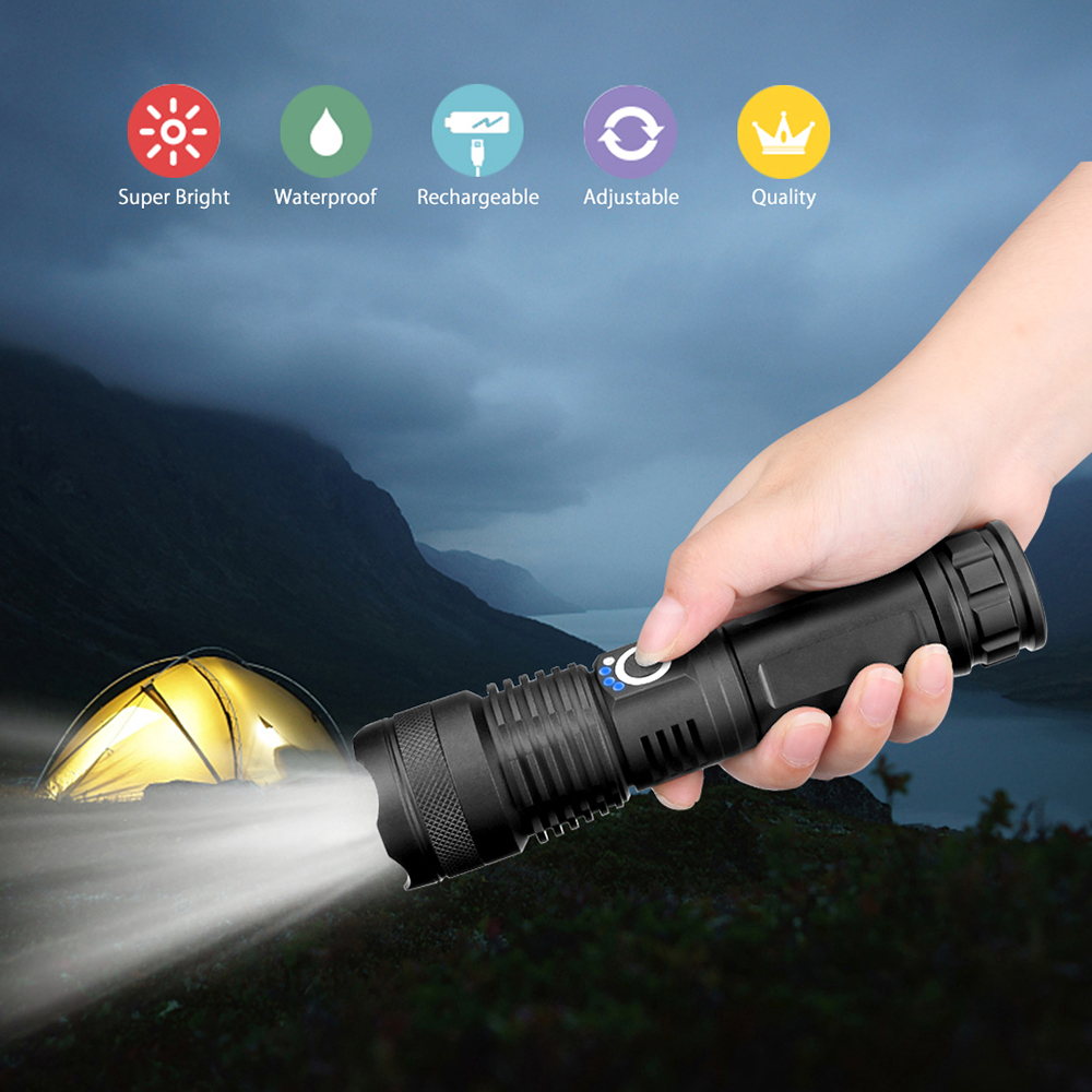Купить с кэшбэком Powerful LED Flashlight XHP70 XHP50 Rechargeable USB Zoom Torch XHP70.2 18650 26650 Self Defense Hunting Lamp