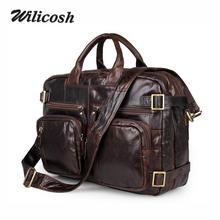 Wilicosh 2017 Genuine leahter men bags 100% Real leather men's bag casual Business multifunction handbag Messenger Bag JD011