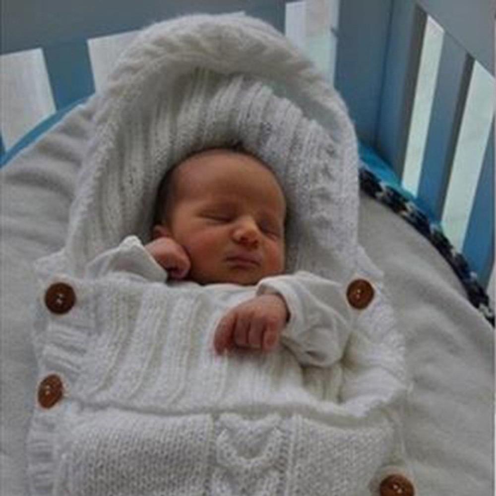 Конверт для новорожденных маленьких Обувь для девочек Обувь для мальчиков спальный мешок Кокон и пуговицы Вязание малышей пеленать Обёрточная бумага Одеяла конверт