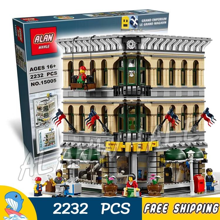 2232pcs 15005 Creator Grand Emporium modular buildings collection 3D Model Building Blocks Toys Compatible with Lego lepin 15005 2232 stucke stadt creator grobhandelszentrum modell bausteine ziegel action ziegel fur kinder spielzeug kompatibel m