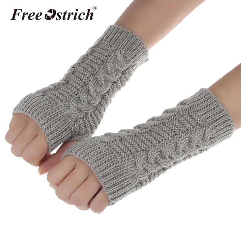 Free Ostrich Solid Woman Twist The Short Knitted Gloves Winter Keep Warm High Elastic Fingerless Arm Warmers CJ20