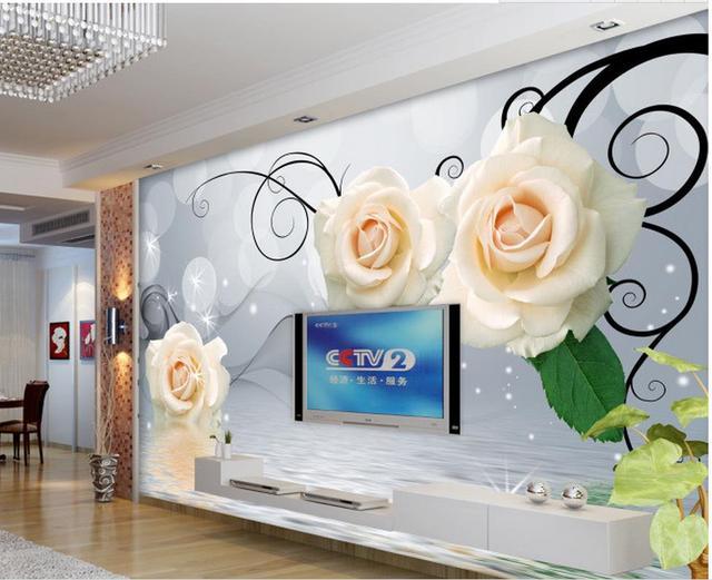 Living Room Murals aliexpress : buy 3d wallpaper flower rose water tv backdrop