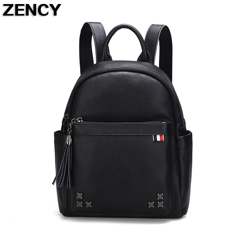 ZENCY Leather Backpack Famous Brands Genuine Cow Leather Backpacks Soft Top Layer Cowhide Women Female Bags zency genuine leather backpacks female girls women backpack top layer cowhide school bag gray black pink purple black color