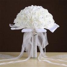 Ramos de Novia Ivory Flower Rose Wedding Bouquet with Ribbon Handmade Artificial Crystals Handle Bridal Bouquet Buque de Noiva
