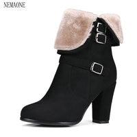 NEMAONE Winter Women Round Toe Ankle Boots High Heels Shoes Double Buckle Platform Short Martin Booties