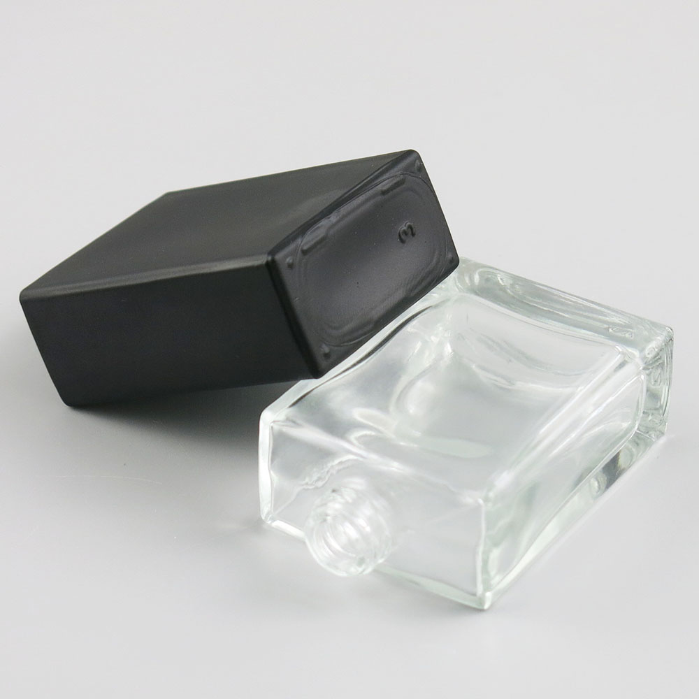 Купить с кэшбэком 2pcs x 30ml transparent Black glass empty perfume bottle atomizer spray can be filled bottle spray box travel size portable